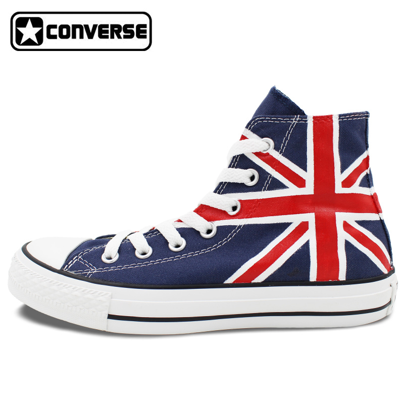 Union Jack Uk Flag Original Design Converse All Star Hand Painted Shoes Woman Man Blue Sneakers Men Women Christmas Gifts  classic original converse all star minim musical note design hand painted shoes man woman sneakers men women christmas gifts