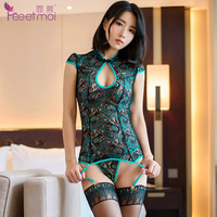 Sexy Lingerie Women Set Lace Peacock Embroidery Cheongsam Erotic Lingerie Sexy Hot Hollow Backless Sexi Woman