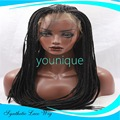Free Shipping TOP Quality Synthetic Lace Front Wig Afro American Braided Wigs for Black Women Mambo Crochet Braid Wig black hair