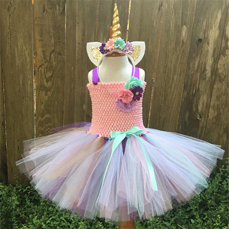 Hot Sale Baby Girls Tutu Dress Rainbow Pony Unicorn