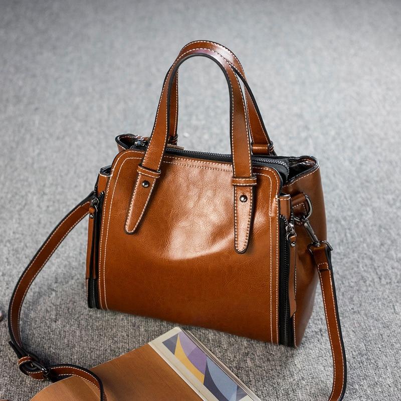 Genuine Leather Women CrossBody Top Handle Bag Luxury Purse Real Cowhide High Quality Tote Handbag Sling