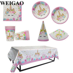 WEIGAO Party Decor Unicorn Paper Table Happy Birthday Gifts