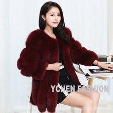 YCFUR Free Shipping EMS DHL Real Fur Coat For Women Whole Pieces Of Fox Fur Coats Women Natural Fox Fur Jackets YC209