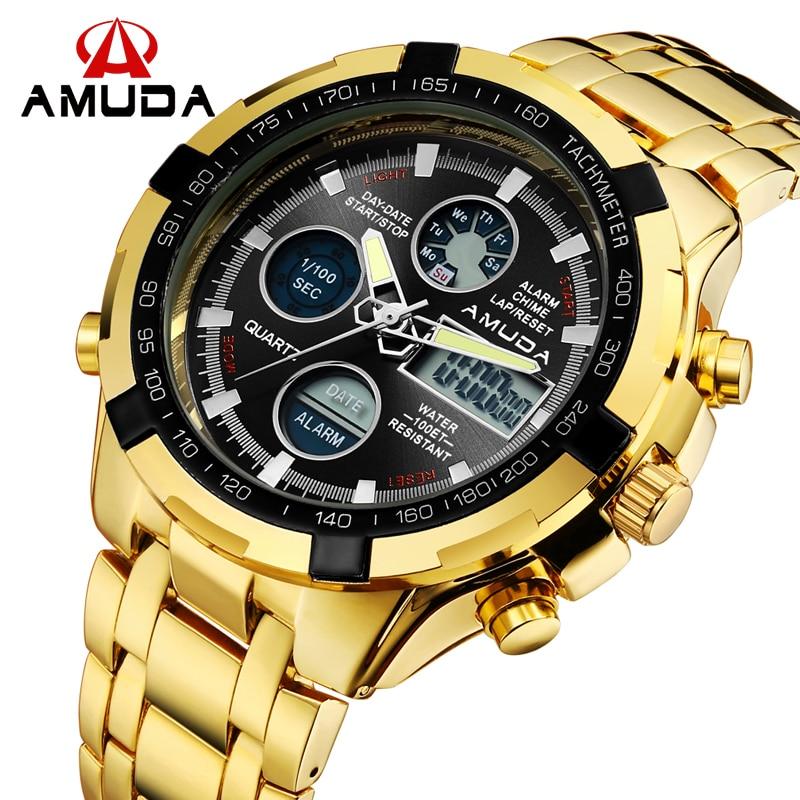AMUDA Male Gold Watch Digital Watch Full Steel LED Men Sports Watches Day Date Calendar Multiple