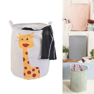 Image 5 - Practical Round Laundry Basket Geometric Hamper Foldable Storage Bin Clothes Toy Collapsible Holder Organizer Gray Grid 1pc