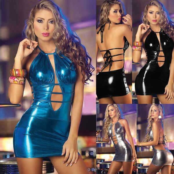 Mode Frauen Pole Dance Erotische Kleidung PVC Faux Trikot Unitard Leder Sexy Latex Body PVC Kleid Micro Paket Hüfte