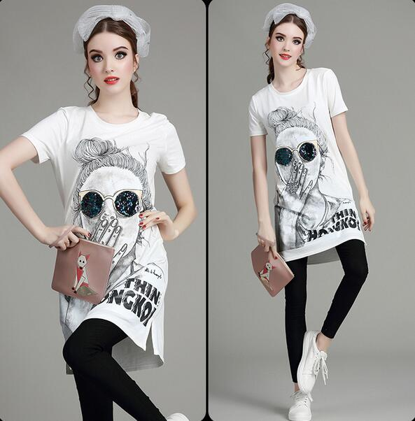 New summer Europe girl head sequined printing long sections T shirt tops D1607
