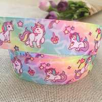 New 1'' (25mm) cartoon unicorn printed grosgrain ribbon rainbow horse ribbon handmade hair bows decorative tape gift wrap