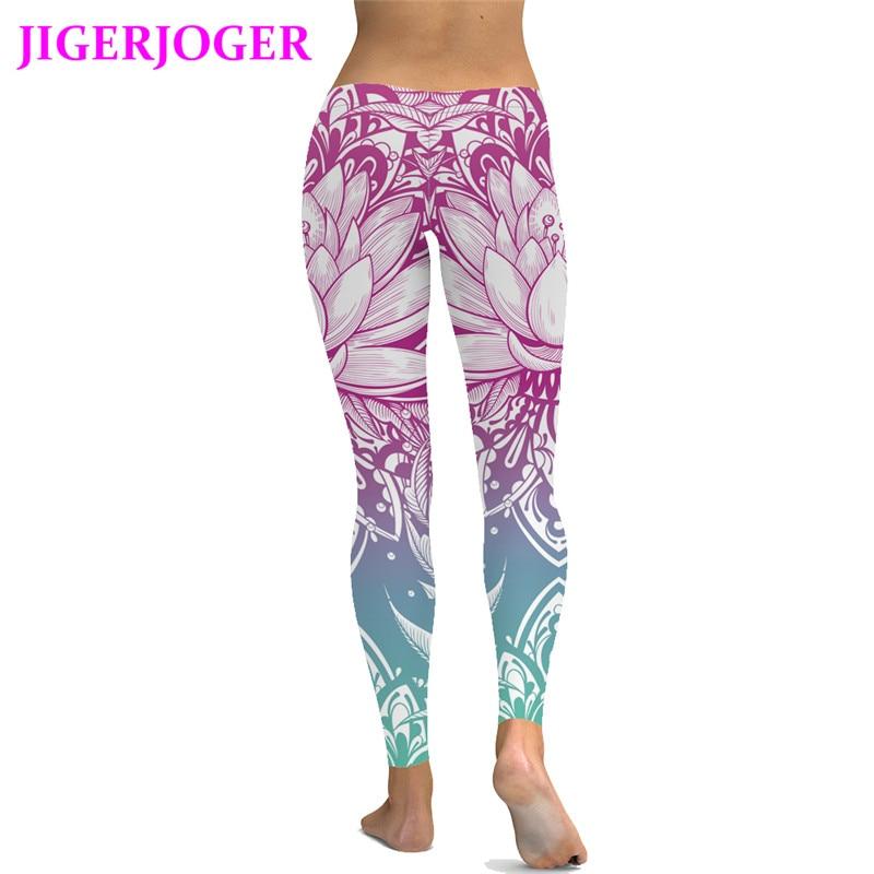 Jigerjoger 2018 Spring Summer Black Pink Lotus Floral Legging Running Leggings Riding Compression Tight Pants Free Drop Shipping Running Pants Running Compression Pantsrun Pants Running Aliexpress