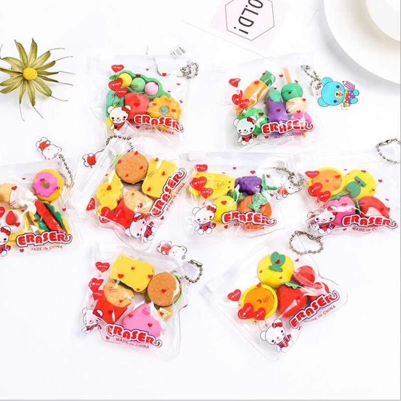 12 Packs New cute eraser Food animal Eraser Set creative stationery student supplies Special children Gifts