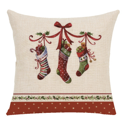 Christmas Pillow Jacket New Year Gift Christmas Tree Socks Christmas Ball Linen Pillow Case