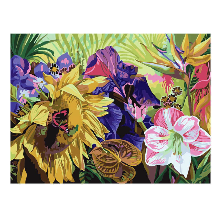 Drawing By Numbers,Blooming Flower,Diy Oil Painting Numbers,Paint Number Kits