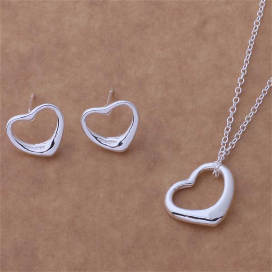new AT067 high quality silver plated jewelry fashion noble women classic heart necklace earring Jewelry Sets free shipping