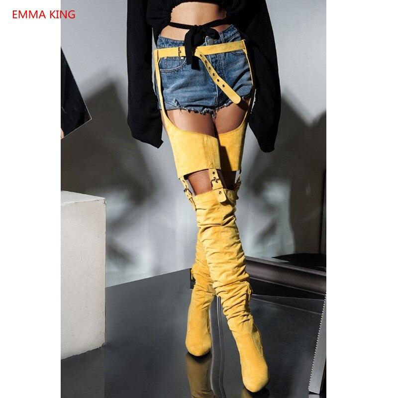 Sexy Chaussures La Genou Taille Populaire Design Femme Ceinturée À Bottes Cuir Le As Picture Femmes En Sapato Gtiletto Haute as Sur Mode Picture Nouveau Cuisse ZfUqwvw