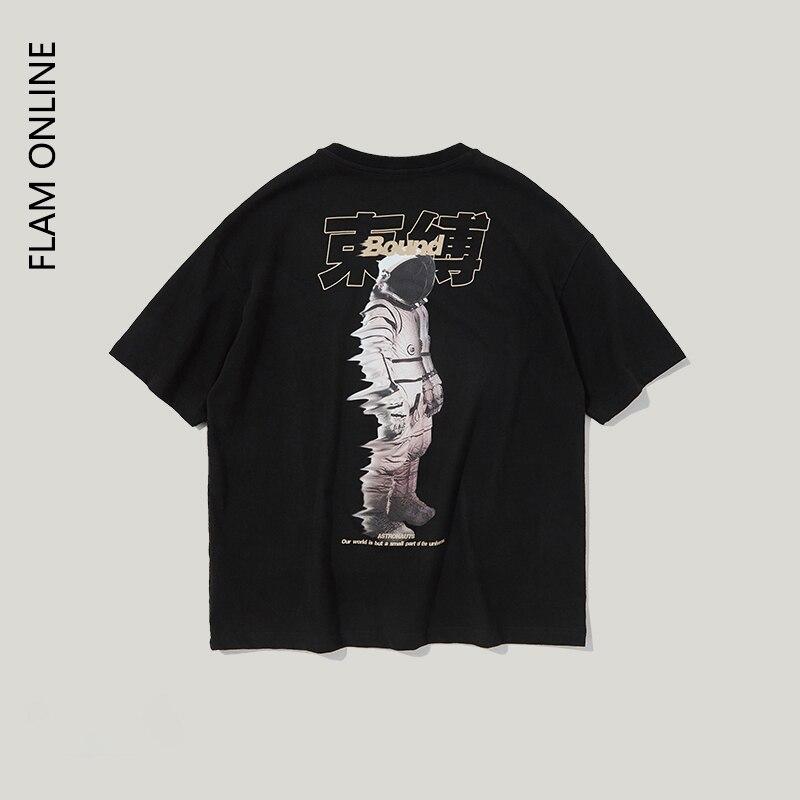 FLAM ONLINE 2019 Summer O Neck T shirt Hip Hop Men Couple Harajuku Street wear Tee Shirt Cotton Hip hop Top Tee in T Shirts from Men 39 s Clothing