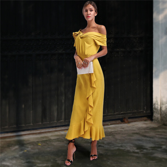 2284726d368 Plus Size 2019 Women Summer Vinatge Elegant Party Night Dresses Sexy Casual  Maxi Yellow Trumpet Dress