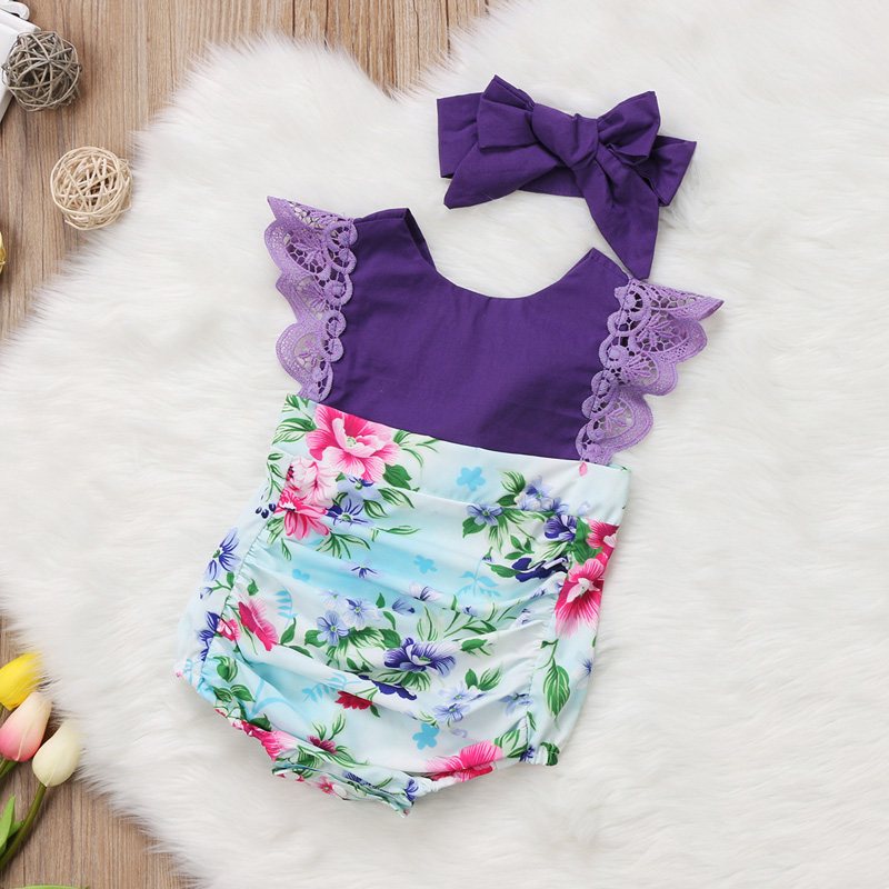 ce2f17409abe 2017 Super Cute 2Pcs Purple Floral Sister Matching Newborn Baby ...