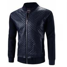 Plus size Pu Leather Jacket Men Black Navy Coats Crewneck Bomber Jacket Patchwork Slim Fit Long Sleeve Spring Overcoats 3XL