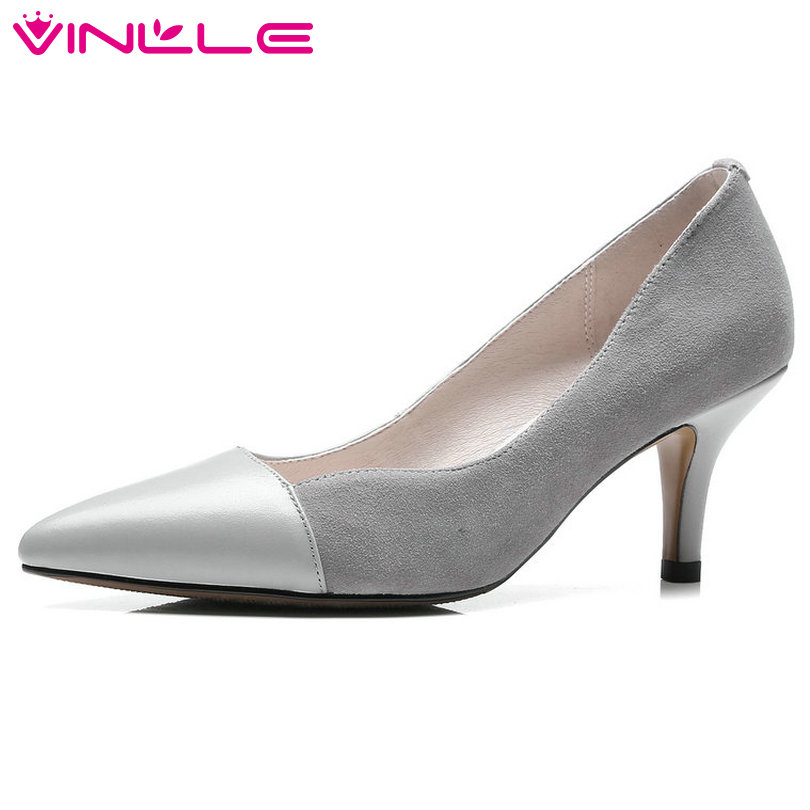 VINLLE 2018 Women Pumps Pointed Toe Genuine Leather+Kid Suede Slip On Black Thin High Heel Ladies Wedding Shoes Size 34-40 nesimoo 2018 women pumps pointed toe thin high heel genuine leather butterfly knot ladies wedding shoes slip on size 34 39