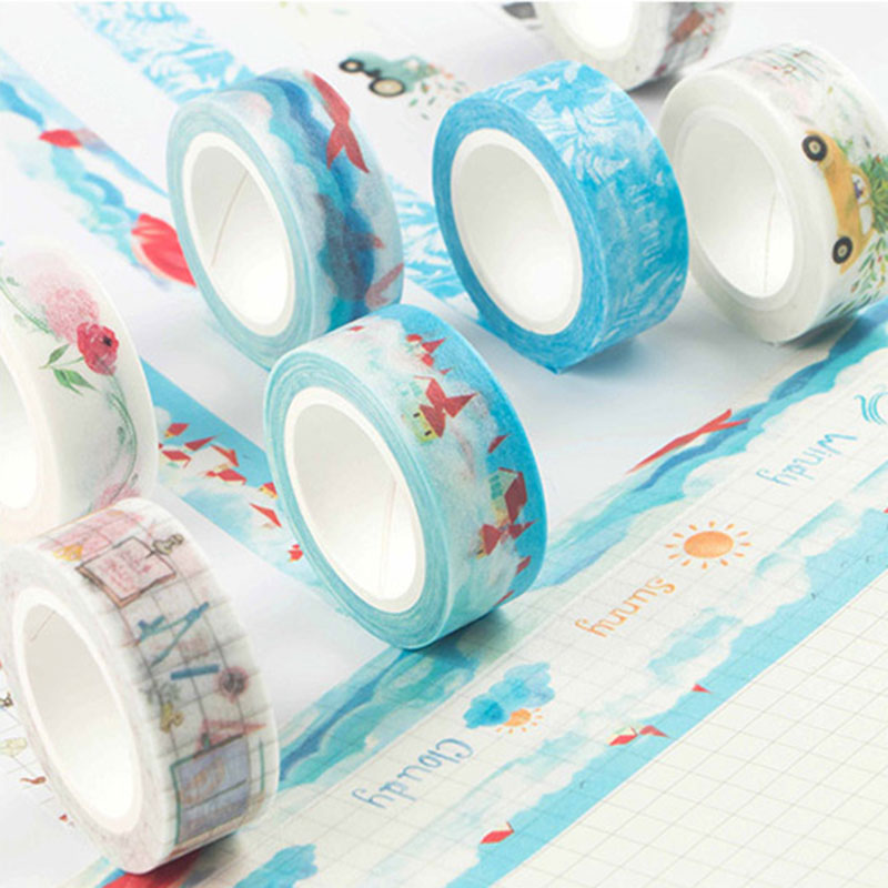 1 x  traveler series 1.5cm X 7m washi tape children like DIY Diary decoration masking tape stationery scrapbooking tool 1 x nordic series 1 5cm x 7m kawaii washi tape children diy diary decoration masking tape stationery scrapbooking tool