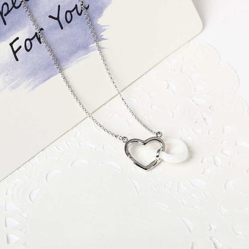 Nova cerâmica dois coração colar com cz austrália cristal 585 ouro prata cor cerâmica coração colares para o dia dos namorados amante