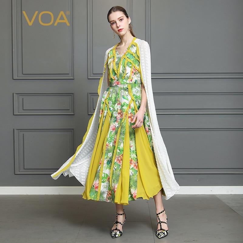 VOA Шелковый плащ Sleeve Swing вечерние платье для женщин; Большие размеры 5XL Boho принцессы с принтом длинные платья с v образным вырезом Повседневно