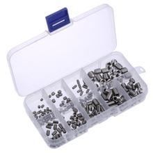 200pcs/set M3/M4/M5/M6/M8 Allen Head Socket Hex Set Grub Screw Assortment Cup Point Stainless Steel Allen screws
