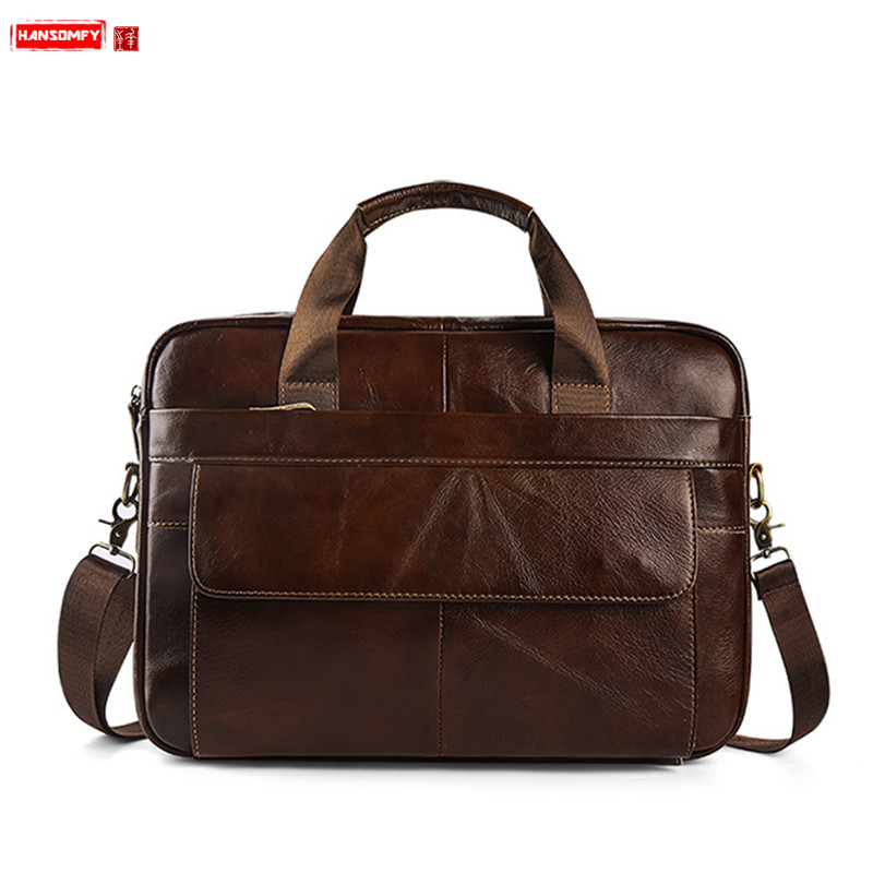 HANSOMFY Business Men Briefcase Genuine Leather Handbags Male 15 Inch Laptop Shoulder Bag Brown Leather Travel Messenger