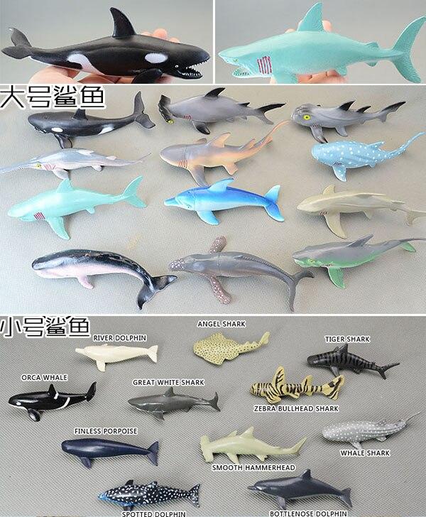 12 pièces grand requin + 11 pièces petit requin en plastique souple + PVC en vrac véritable animal marin modèle toutes sortes de requin jouet cadeau