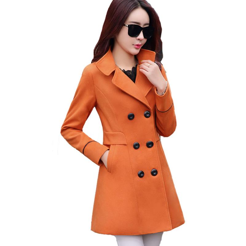 New Women Woolen Coats Blends Spring Winter Fashion Casual Ladies Wool Coat Jackets Slim Overcoat Big Size Wine Red Navy Blue