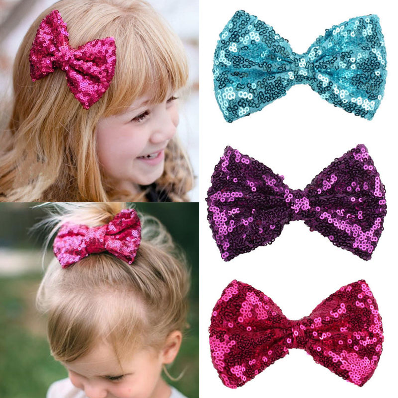 Shiny Sequined Bow Bowknot Hair Clip