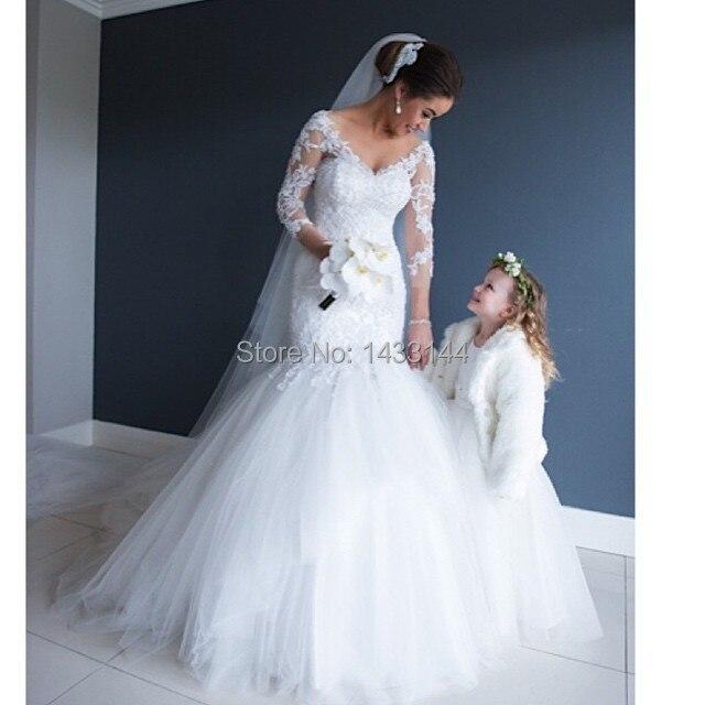 Aliexpress.com : Buy 2014 Sexy v neck mermaid wedding dress with 3 ...