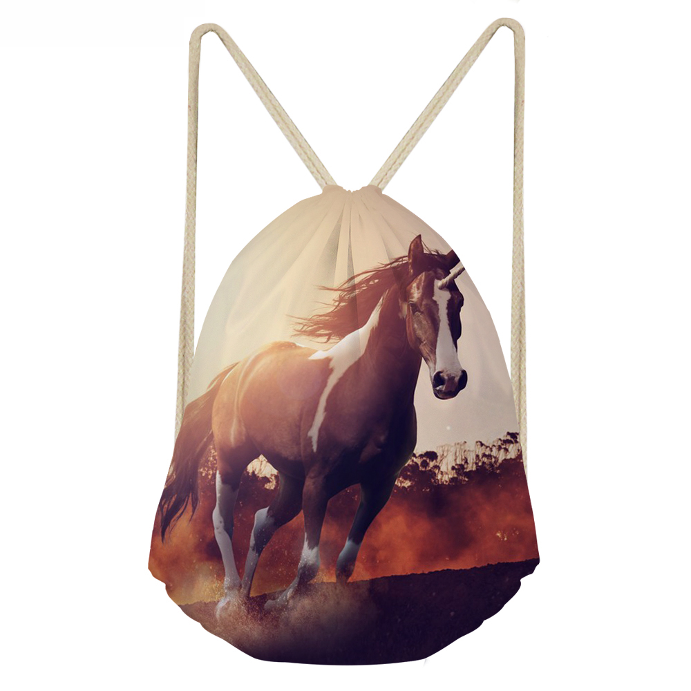 ThiKin Crazy Horse Print Teenager Girls Beach Drawstring Bag Cool 3D Animal Children Softback Bag Storage Bag Men Sack Bags