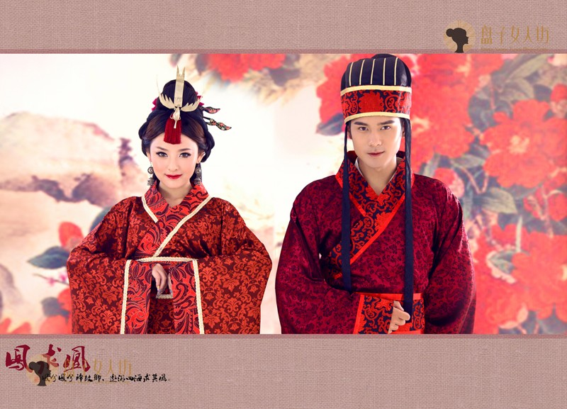 Chinese traditional couple wedding Hanfu costume Ancient China wedding Couple Wear clothing for photograph classic cosplay in Sets from Novelty Special Use