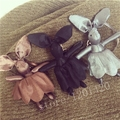 Popular Cloth Rabbit Shaped Doll Bunny Key Chain Woman Bag Accessories Car Key Ring Handbag Charm Tote Shoulder Bag Charm