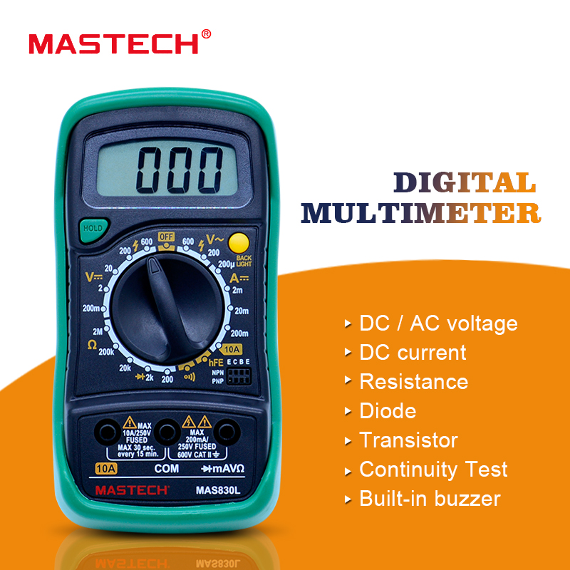 MASTECH MAS830L Mini Digital Multimeter backlight handheld multifunction multiMeter mastech mas830l mini digital multimeter handheld lcd display dc current tester backlight data hold continuity diode hfe test