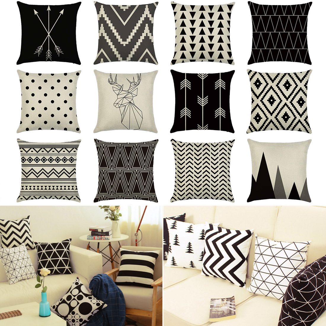 Decorative Throw Pillows Case Black White Geometric Cotton Linen For Home Capa De Almofadas 45x45cm