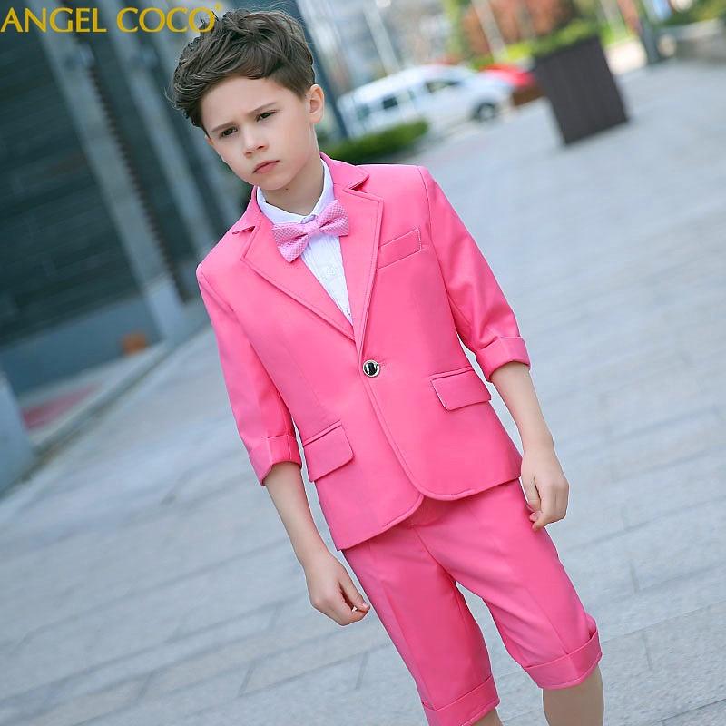 Short Sleeve Children'S Suit Boys Suit Jackets Kids Suits Wedding Party Blazers For Boy Infantil Summer Shorts Chlidren Clothing