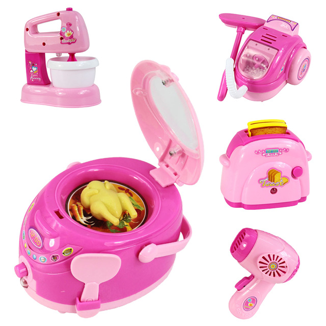 все цены на Pink Household Appliances Children Pretend Play Kitchen Toys Toaster Vacuum Cleaner Cooker Blender Toy For Kid Girls Toys BM021