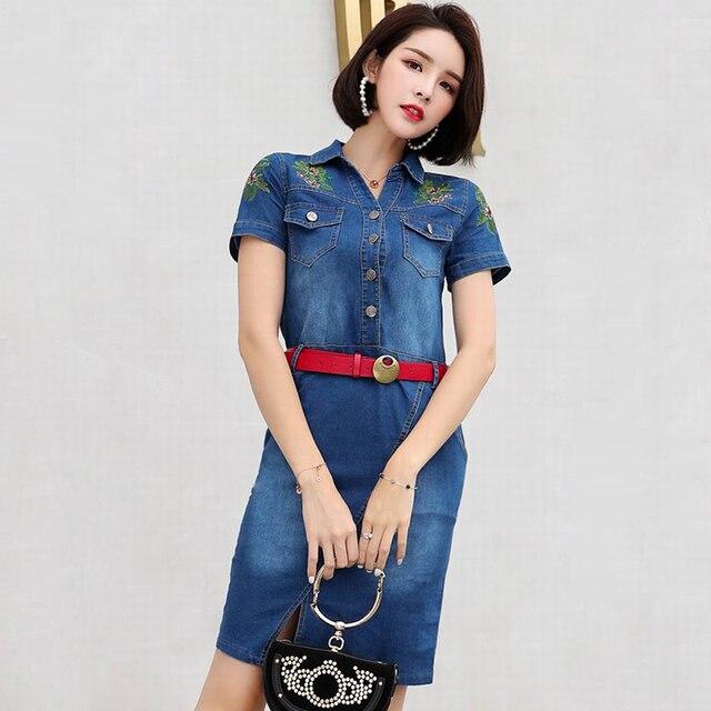9ca2f82db33 2018 Summer Hot Women Casual Denim Dress Elegant Cowboy Fashion Women Loose  Dress Feminino Lady Slim Embroidery Midi Dress Jeans
