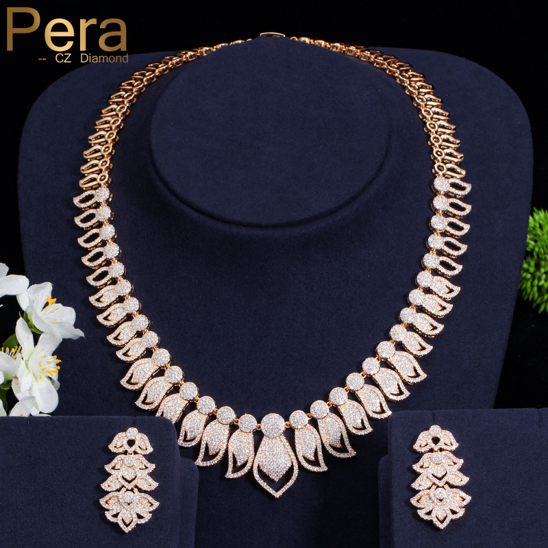 Pera Luxury African And Nigerian Bridal Wedding Party Jewelry Big Statement Cubic Zirconia Necklace Earrings Set For Brides J017 цена
