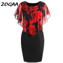 ZOGAA Plus Size Casual Women Summer Dress Elegant Floral Printed Fake 2-pieces Slim Wrapped Bodycon Sundress 2019 S-5XL