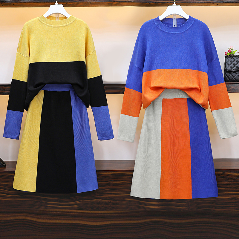 Knitted Suit Women Warm Women's 2 Piece Knit Set With Skirt Shirt Top Female Plus Size Large Outfits 2019 Winter Autumn Clothing