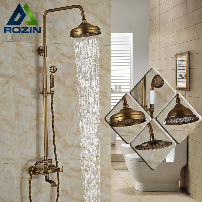 Modern 6 model Bathroom Surface Mount Brass Rainfall Shower Faucet Set Antique Brass with Handshower Tub