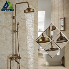 Modern 6-model Bathroom Surface Mount Brass Rainfall Shower Faucet Set Antique Brass with Handshower + Tub Spout