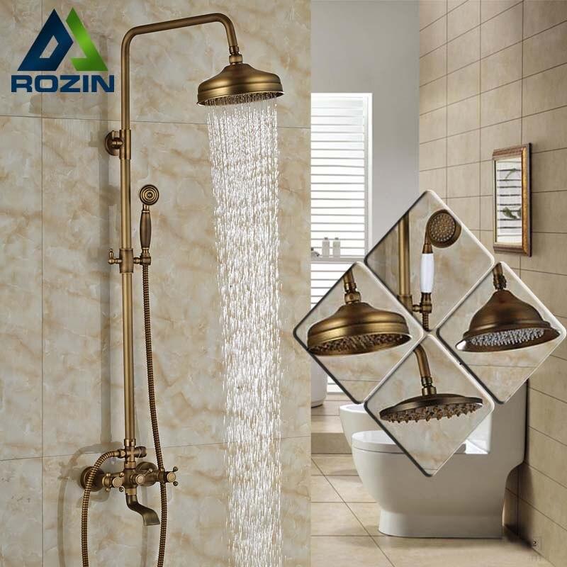 Modern 6 model Bathroom Surface Mount Brass Rainfall Shower Faucet Set  Antique Brass with Handshower   Tub SpoutTub Spout Reviews   Online Shopping Tub Spout Reviews on  . Shower Tub Faucet Reviews. Home Design Ideas