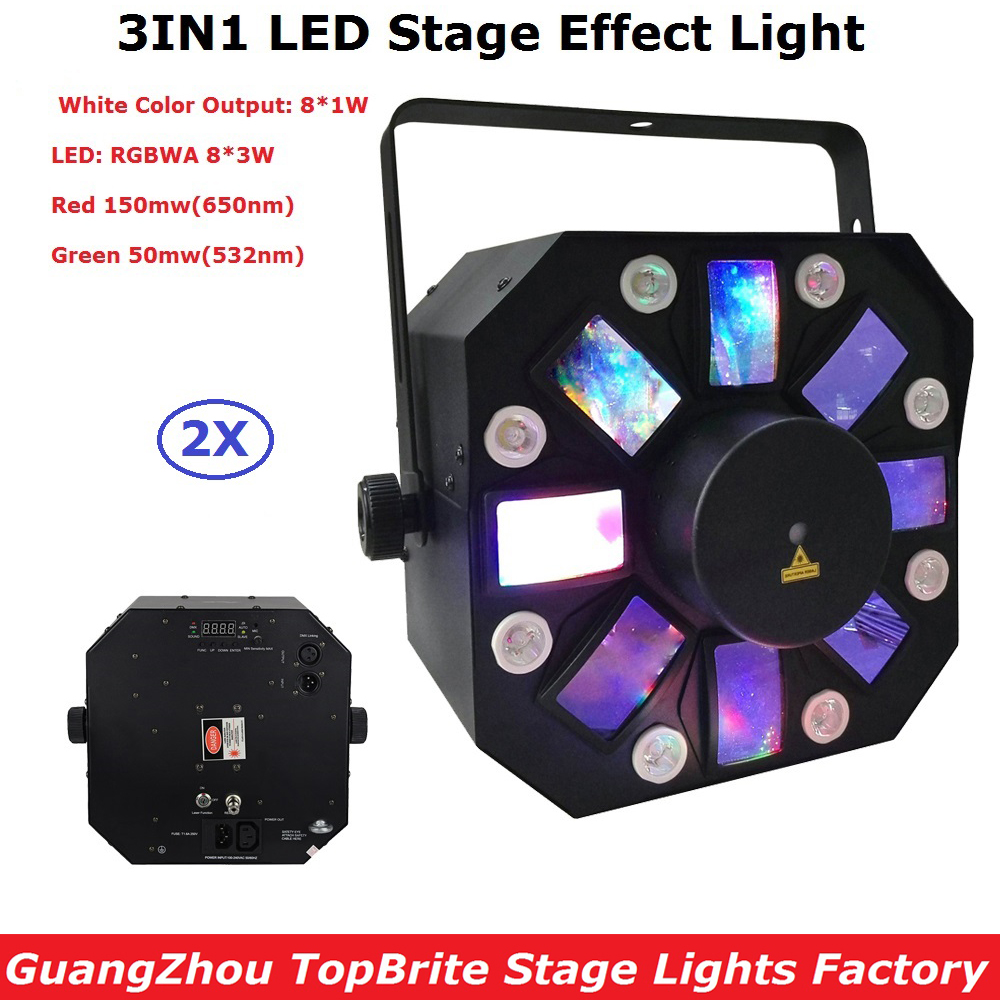 2XLot Professional Dj Laser Lights 66W High Power Led Stage Effect Lights 8X3W RGBWA  + 8X1W White Color LEDs For KTV Nightclubs