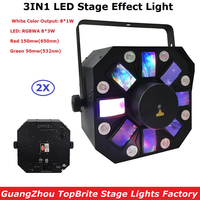 2XLot Professional Dj Laser Lights 66W High Power Led Stage Effect Lights 8X3W RGBWA 8X1W White