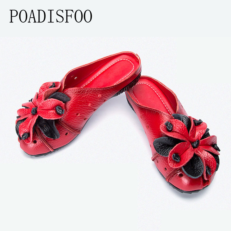 2017 women shoes small flowers soft at the end of the new leather women's shoes casual Peas shoes flat mom shoes flowers.ZFL-665 the ocean at the end of the lane