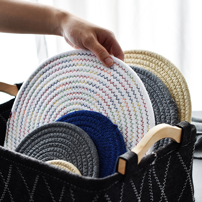 Woven Dining Table Mat Heat Insulation Pot Holder Round Coasters